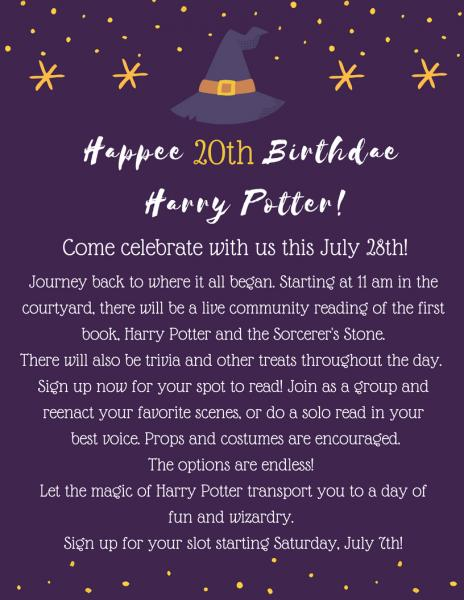 HAPPEE 20th BIRTHDAY, HARRY POTTER!